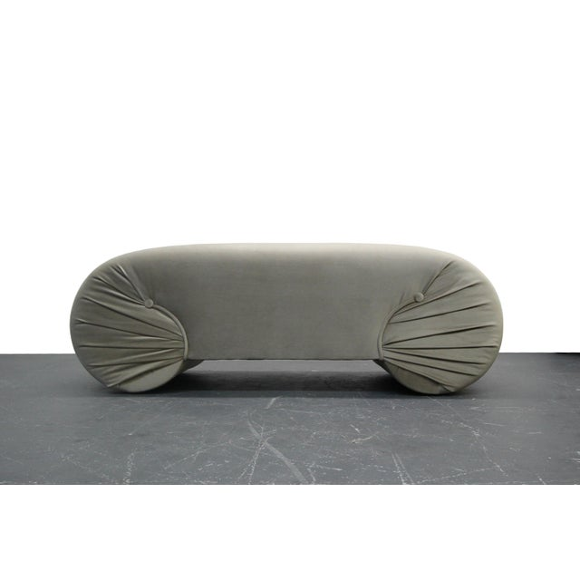 Vintage 1970s Regency Style Curved Shell Shape Velvet Bench - Image 2 of 5