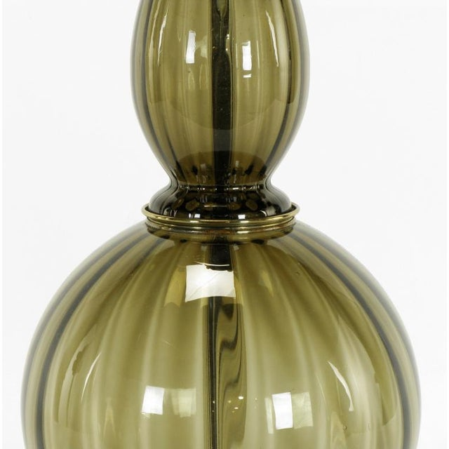 Fluted & Smoked Glass Sinuous Table Lamp - Image 6 of 7
