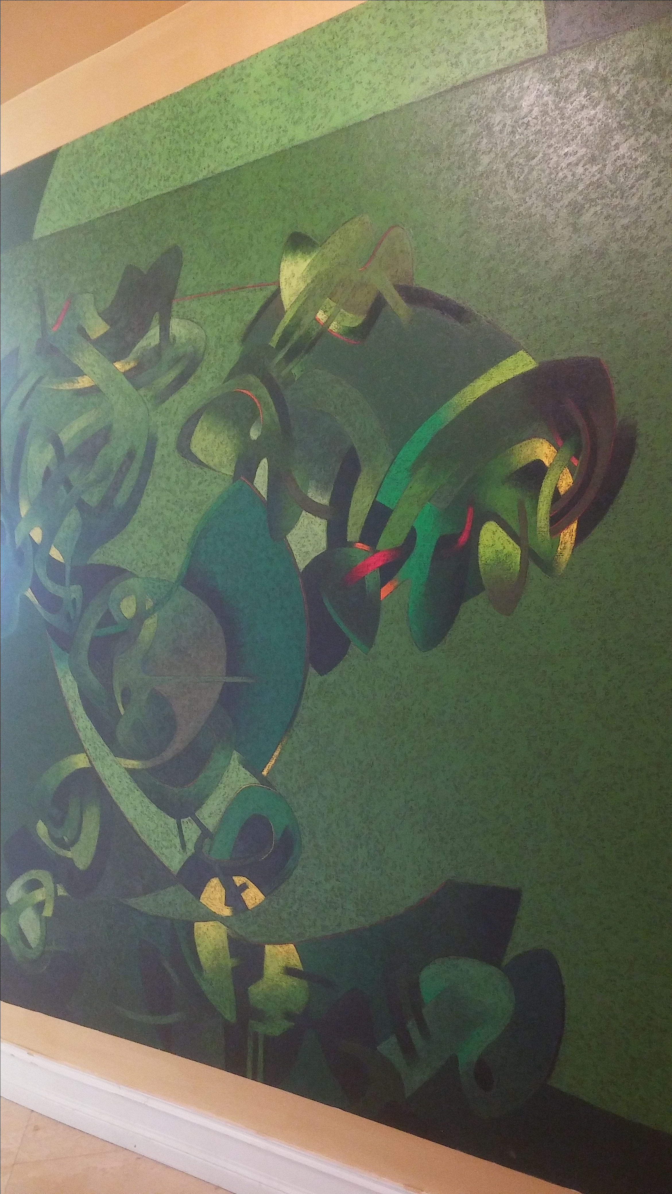 Milton Estrella Gavidia Monumental Verde Abstract Painting
