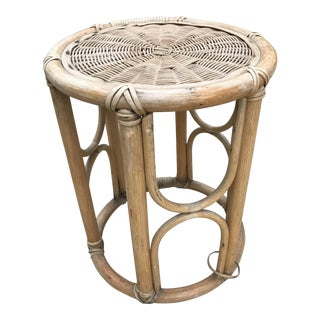 Vintage Rattan Bamboo Plant Stand