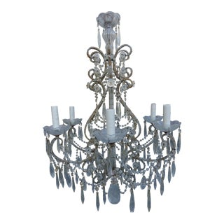 Italian Crystal Beaded Six-Light Chandelier