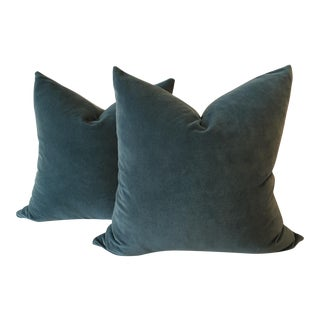 Teal Velvet Pillows - A Pair
