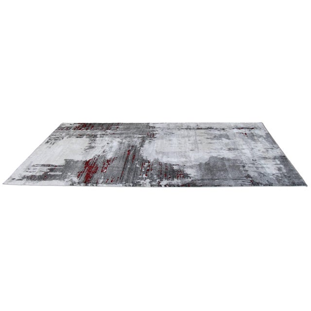 "Contemporary Gray & Red Abstract Rug - 6'7"" x 9'7"" - Image 4 of 8"