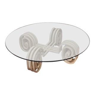 Lacquered Wood and Glass Coffee Table