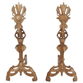 Stylish American Art Nouveau Andirons