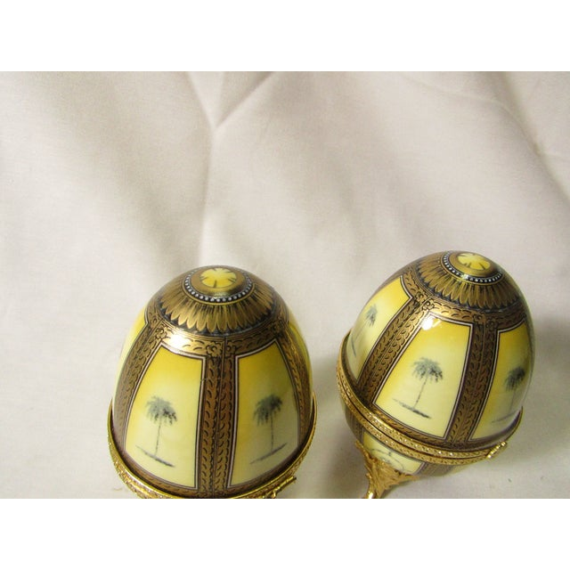 Hinged Porcelain Egg Trinket Box With Palm Trees - A Pair - Image 5 of 7