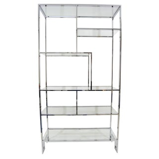 Milo Baughman Chrome and Glass Etagere