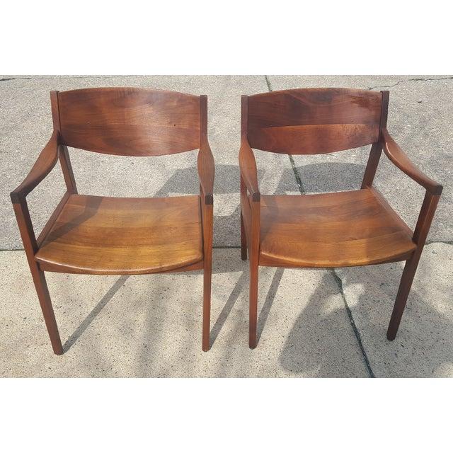 Mid-Century Walnut Gunlocke Chairs - Pair - Image 3 of 11