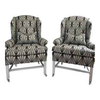 Kelly Wearstler Katana Fabric Upholstered Wingback Chairs - A Pair