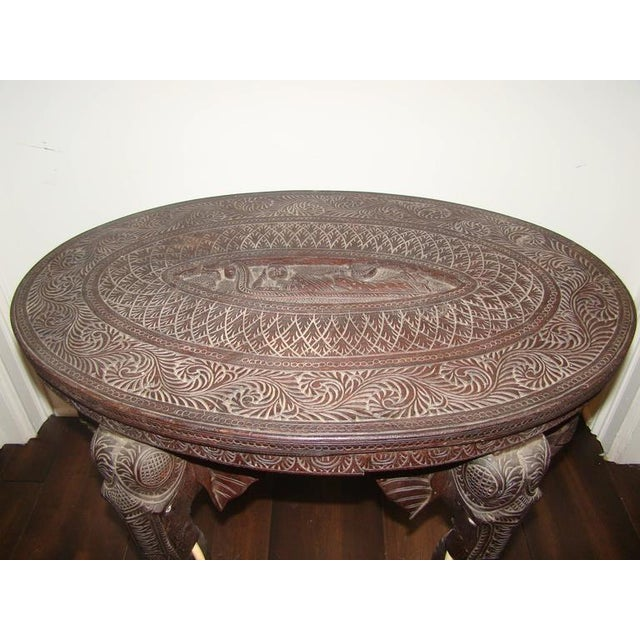 Image of Sculptural Elephant Head Rosewood Carved Occasional Table