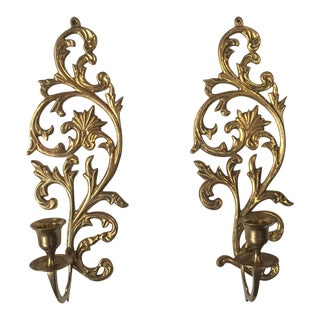 Art Noveau Brass Candleholder Sconces - A Pair