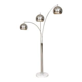 Mid Century Sonneman Style 3 Light Chrome Arc Floor Lamp with Marble Base