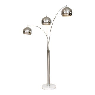 Mid Century Sonneman Style 3 Light Chrome Arc Floor Lamp with Marble Base