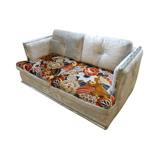 Covington Mid Century Faux Bamboo Chrome Loveseat