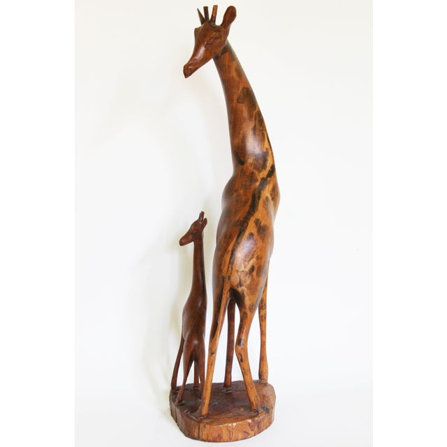 African Mother and Child Giraffe Carving - Image 5 of 6