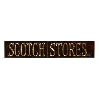 SCOTCH STORES Reverse Painted Glass and Gold Leaf Antique Pub Sign