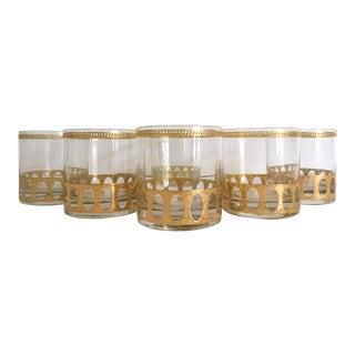 Vintage Mid-Century Modern Gold Leaf Lowball Rocks Glasses - Set of 6