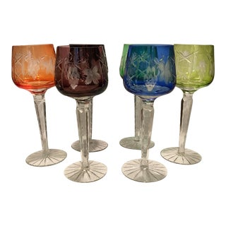Echt Bleikristall Multi Color Cut to Clear Wines - Set of 4