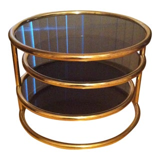 Milo Baughman Brass Swivel Coffee Table