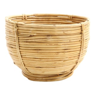 Vintage Boho Chic Bamboo and Wicker Planter Bowl