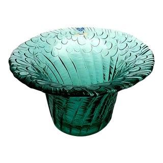 Riihimaki Handblown Art Glass Turquoise Textured Floral Bowl or Vase