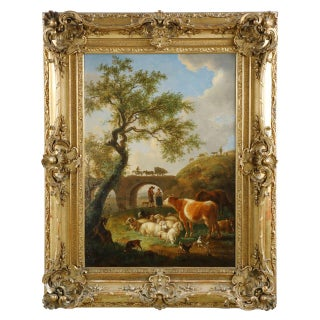 Jean-Baptiste De Roy Landscape Painting of Farm Animals