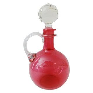 English Cranberry Art Glass Bottle