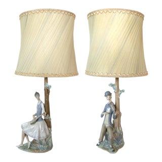 LLadro Figural Musical Lamps- A Pair
