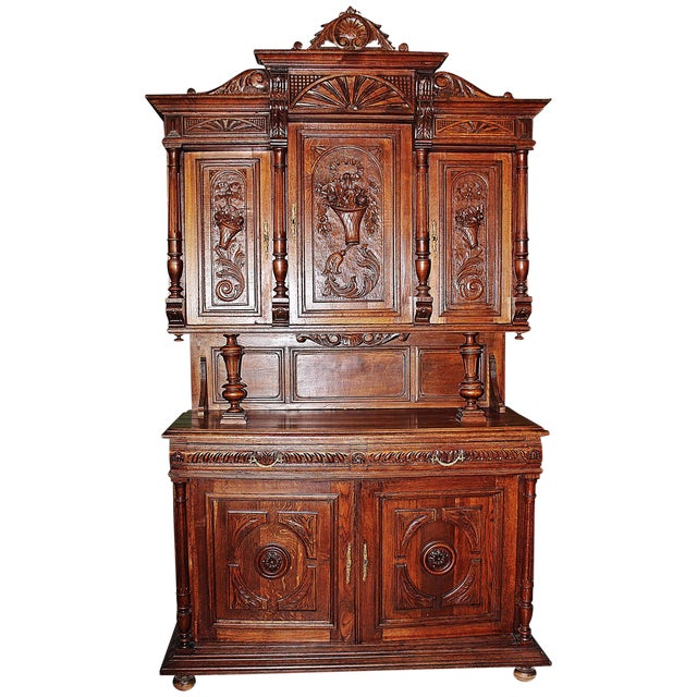 French Rococo Hand-Carved Hutch - Image 1 of 9