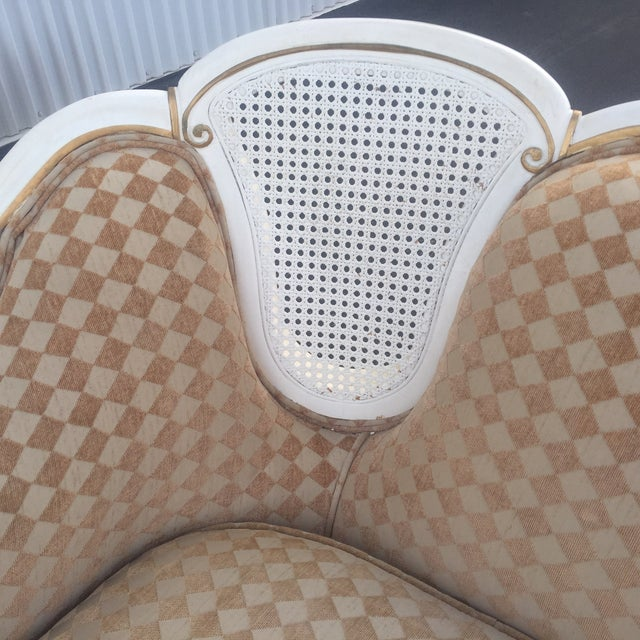 Orange/White French Provencial Cane Back Couch - Image 5 of 8