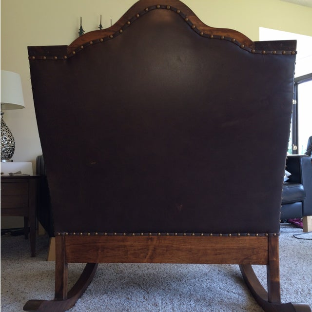 Antique Mission Style Oak & Leather Rocking Chair - Image 4 of 10
