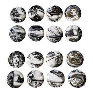 A Complete Set of Sixteen Piero Fornasetti Adam and Eve Coasters in Original Boxes.