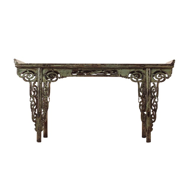 Image of Chinese Green Ancient Dragon Apron Console Table