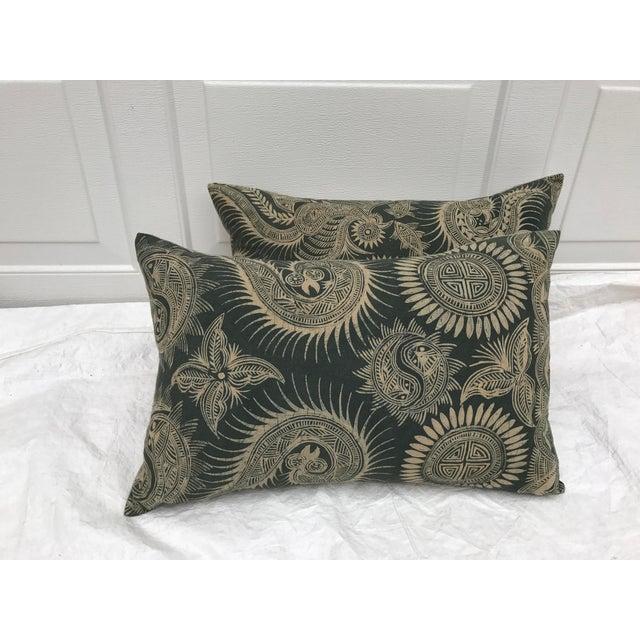 Asian Serpent Gray Batik Pillows - A Pair - Image 2 of 11