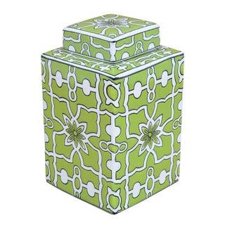Sarreid Ltd Green & White Lidded Jar