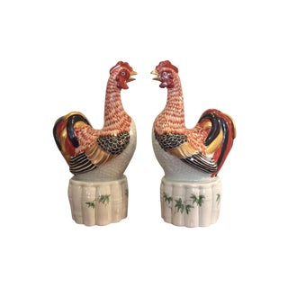 Painted Porcelain Figures of Chickens - Pair