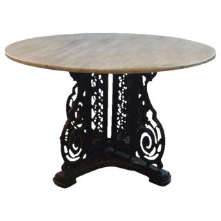 Cast Iron Center Table with Marble Top