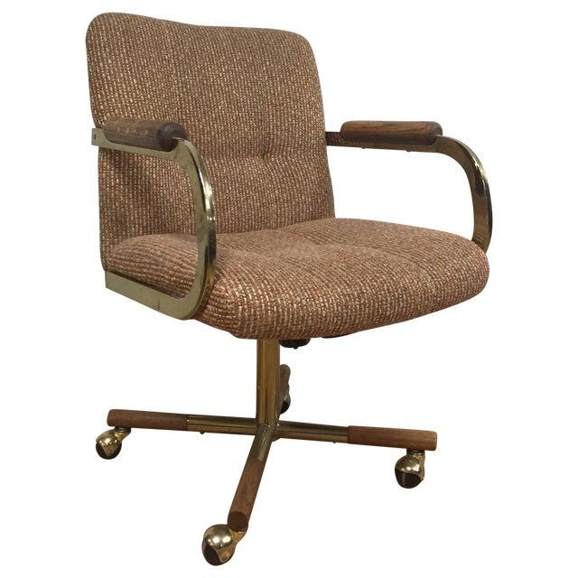 Milo Baughman Style Brass Office Desk Chair - Image 1 of 11