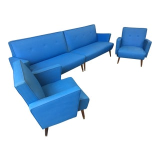 Vintage Blue Sectional & Chairs - Set of 4