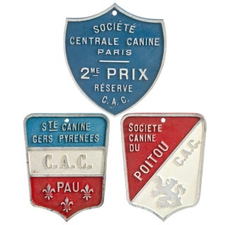 Vintage French Dog Show Award Plaques - Set of 3