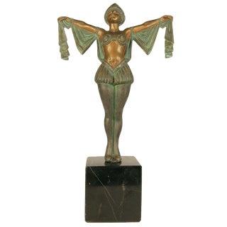 Art Deco Flapper Erotic Dance Spelter Female Statue