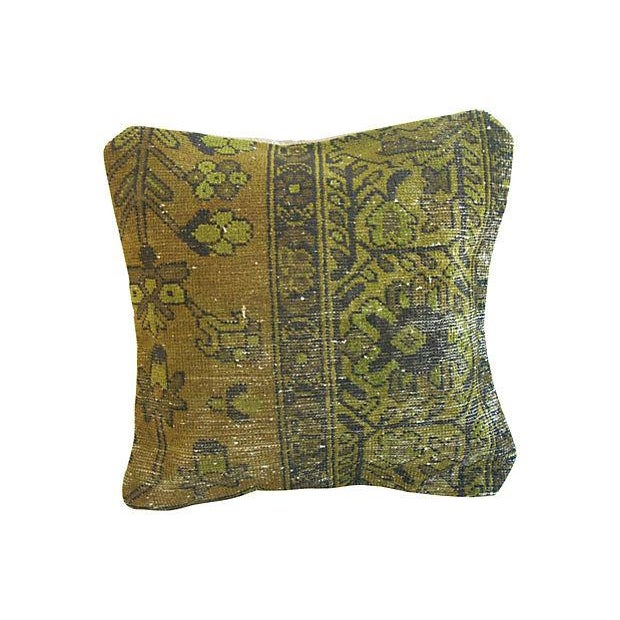Antique Overdyed Turkish Carpet Down Pillow - Image 1 of 2
