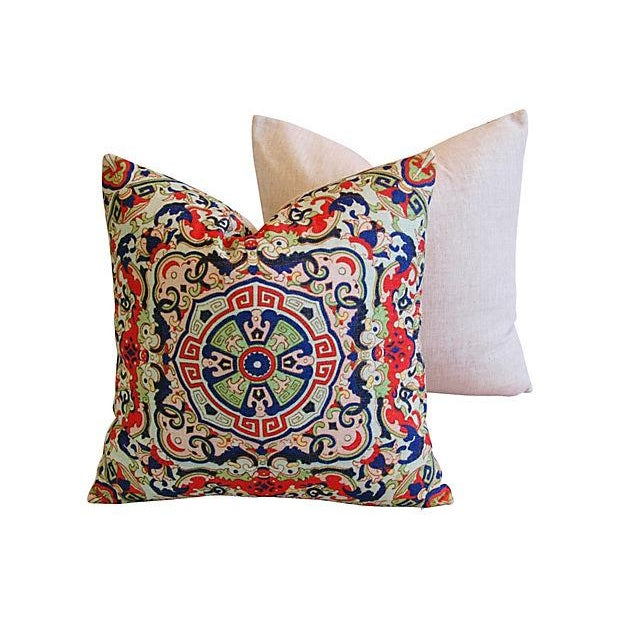 Asian Floral Medallion Linen Pillows - Pair - Image 6 of 7