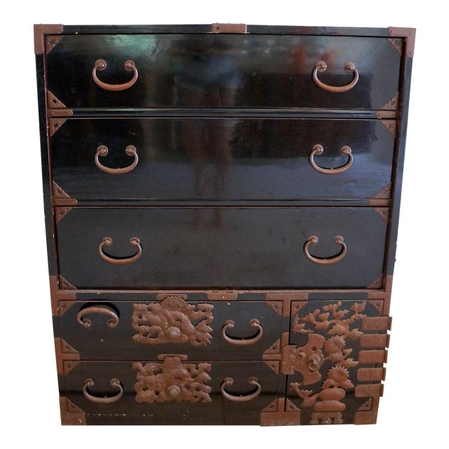 Vintage Black Lacquered Tansu Chest - Image 1 of 10