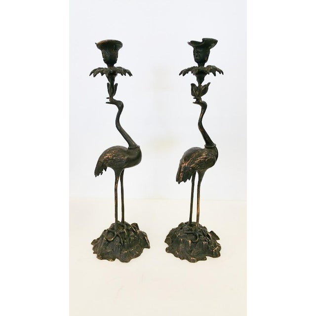Crane Candlesticks in Bronze - A Pair - Image 5 of 5