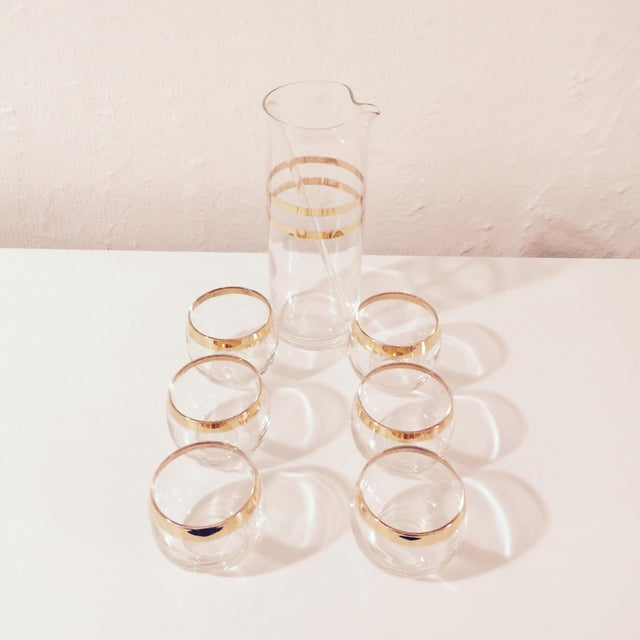 Image of Mid Century Pitcher and Roly Poly Glasses - Set/6