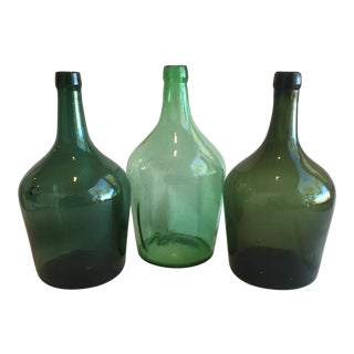 French Hand-Blown Demijohn Wine Bottles - Set of 3