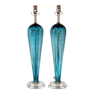 Blue Murano Teardrop Lamps