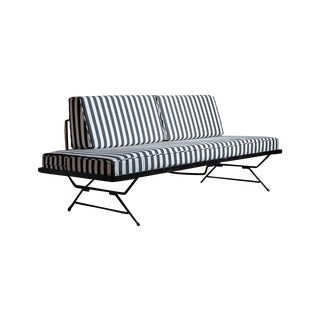 Vintage Black Iron & Striped Fabric Daybed Sofa