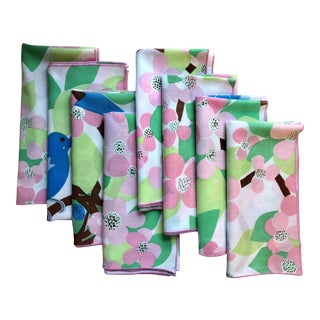 1970s Vintage Floral Cotton Napkins - Set of 8
